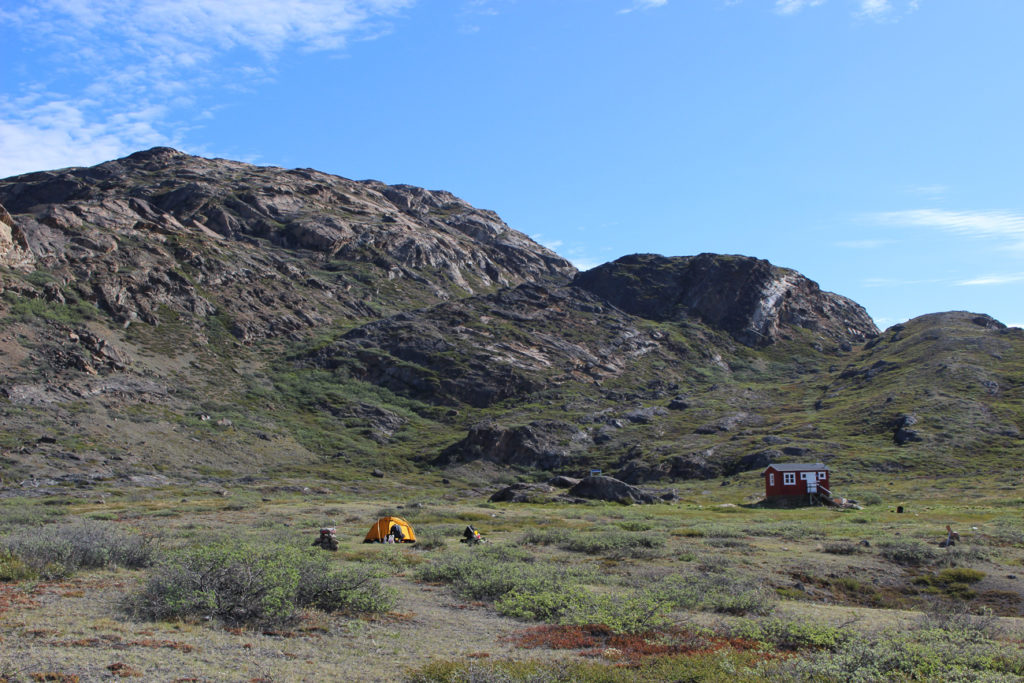 Camping on arctic circle trail and hut in the nature