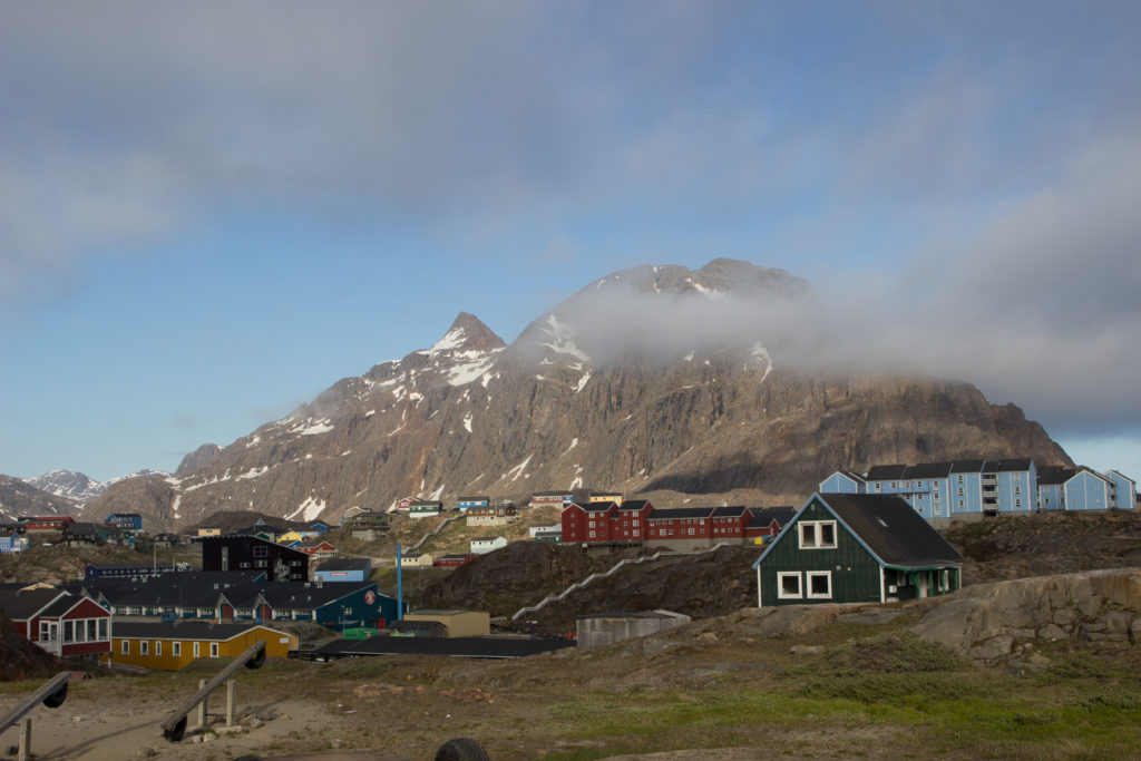 Sisimiut colorful houses and rocky mountain