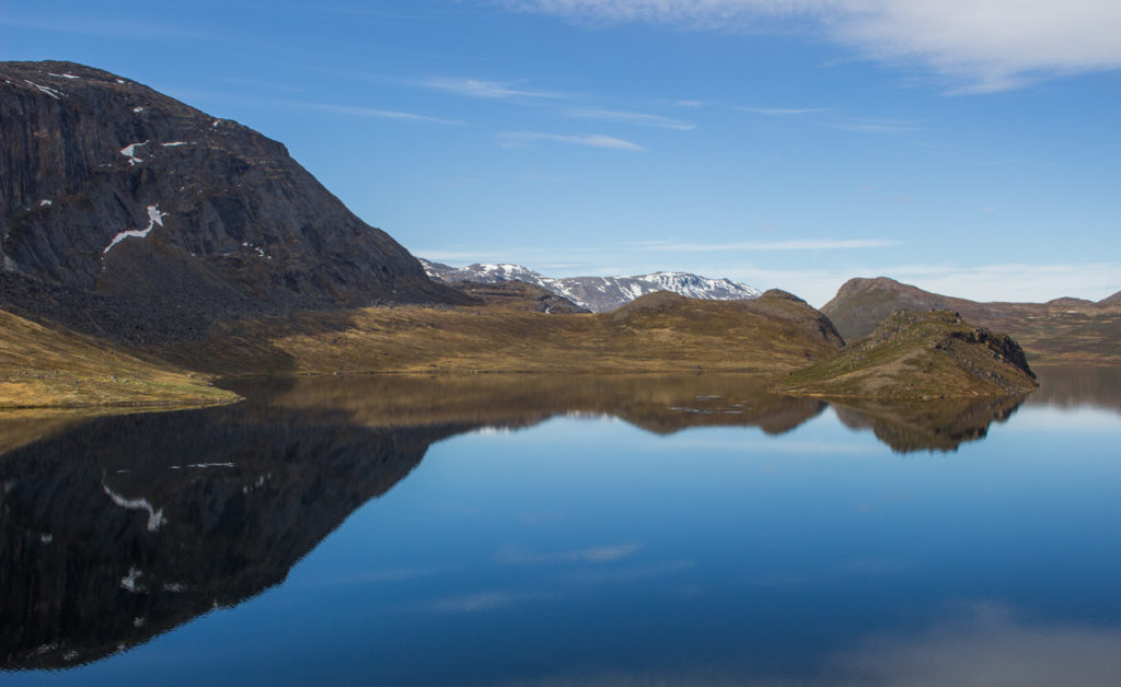 Lake with Arctic circle trail landscape reflection