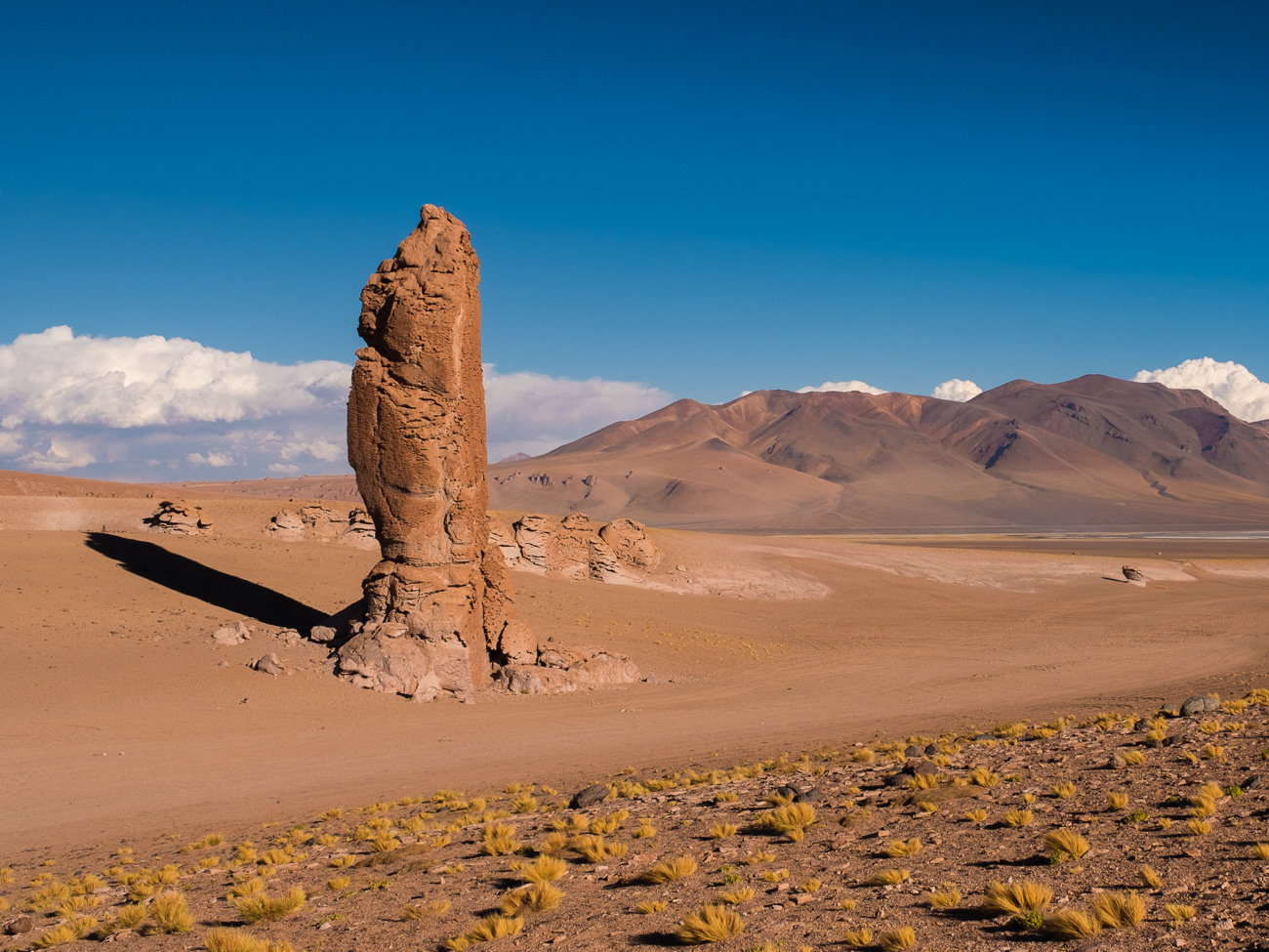 Hight pillar of stone in a orange desert