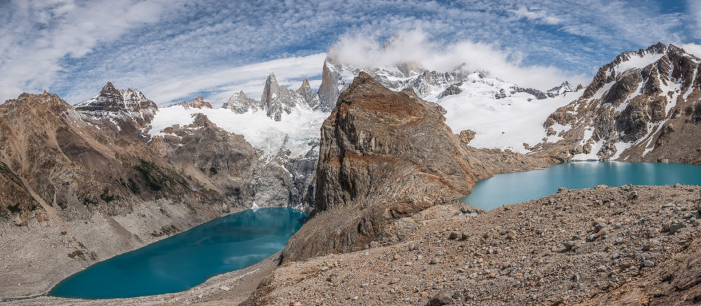 wide angle picture of laguna de los tres and majestic Fitzroy in background