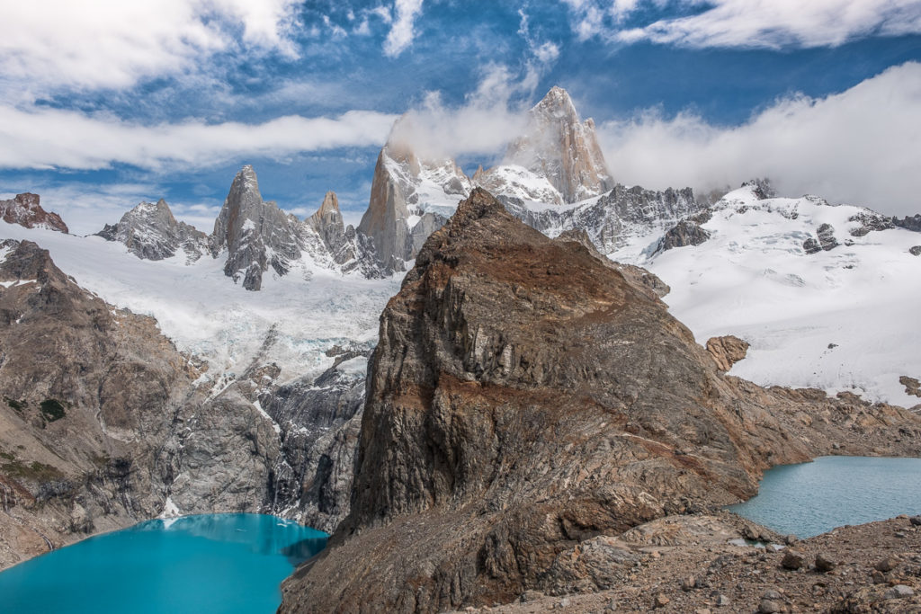 View of two lakes at a view point infront of Fitz Roy