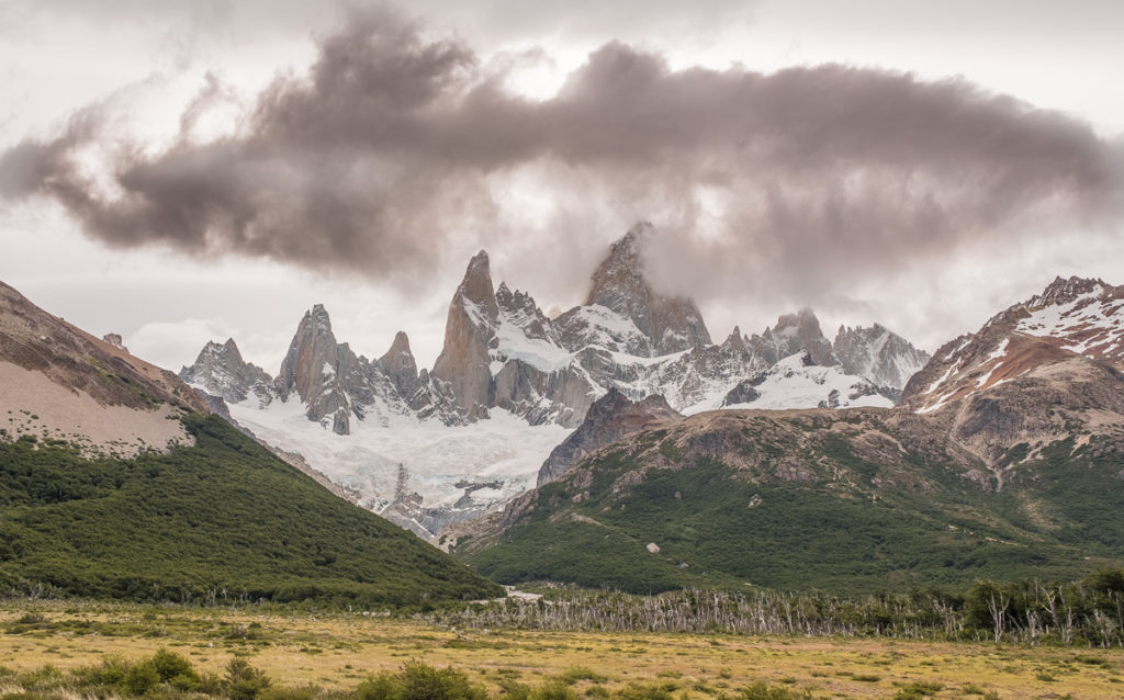 heavy cloud over the Fitz Roy mountain in Patagonia