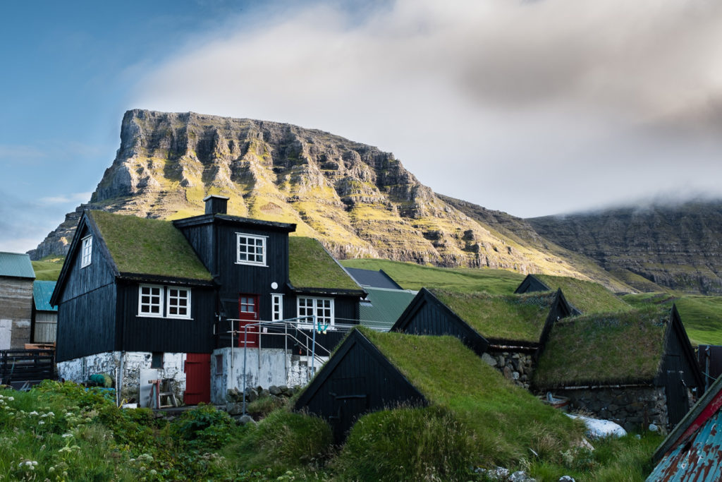 Gasadalur village with thurfhouses and mountin in background