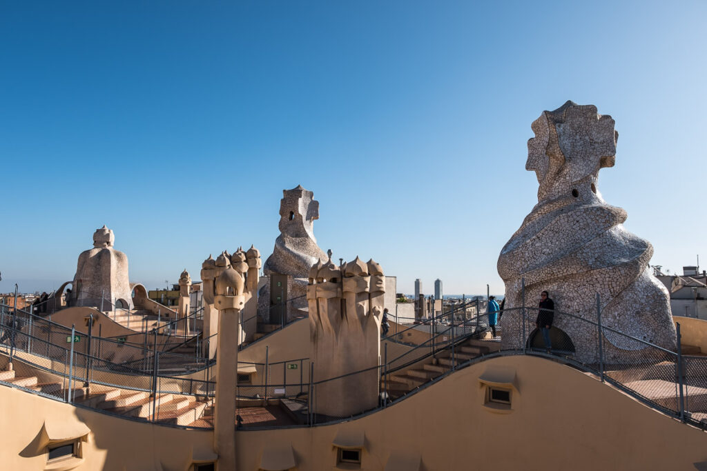 The roof top of Gaudi´s casa Mila with decorated chimneys