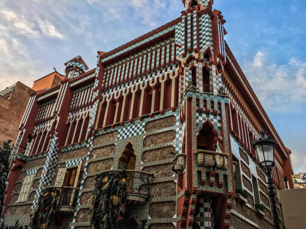 The face of the casa vincens with decorated fascade one of the best gaudi buildings