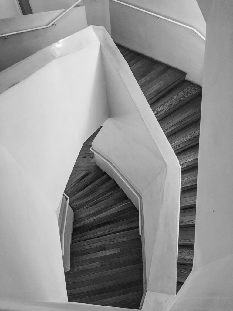 Strangely shaped stairway in Casa Vicens designed by Gaudi