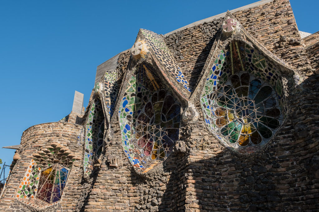 The main face of unfinished church in Colonia Guell belong to one of the best gaudi Buildings