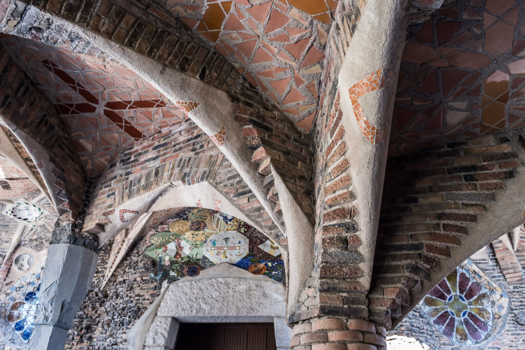 Arcs of the crypta in colonia Guell near Barcelona