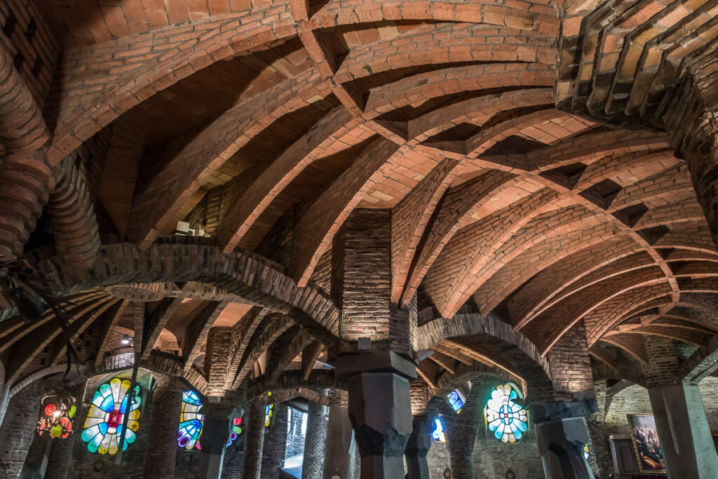The cieling in the crypta Guell near Barcelona