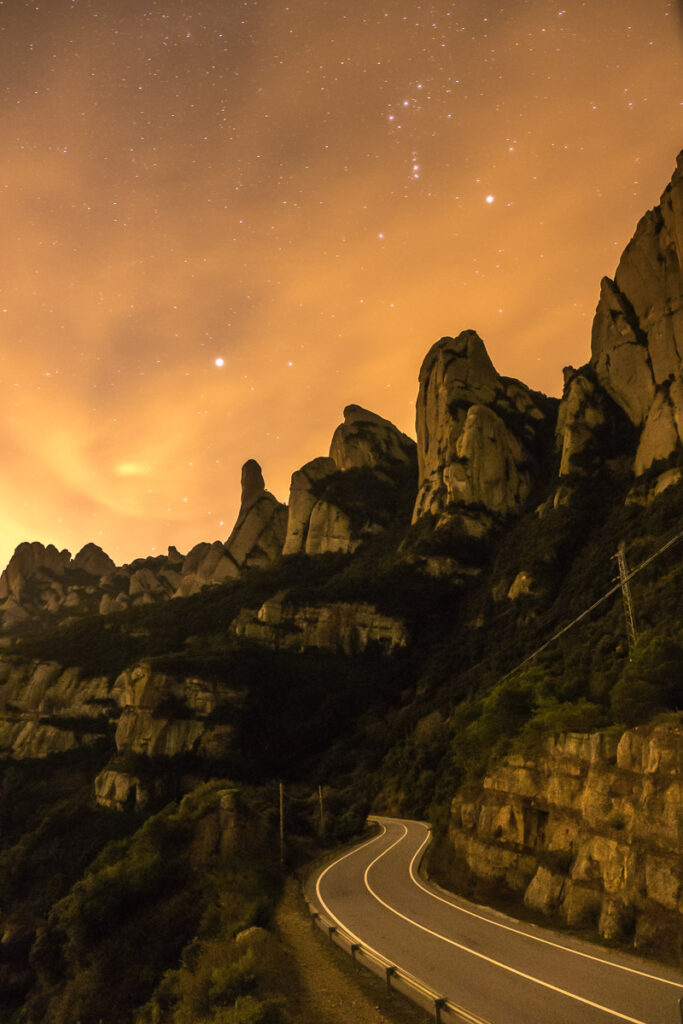 The north road around Montserrat at night with clear sky with starrs