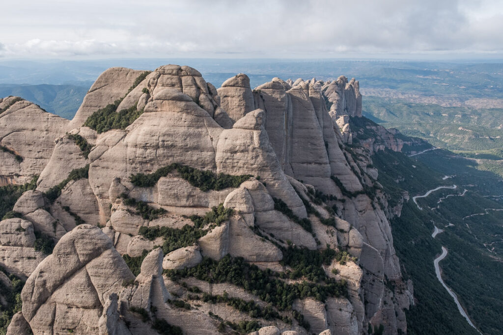 The view from Sant Jeroni to the wester part of Montserrat peaks