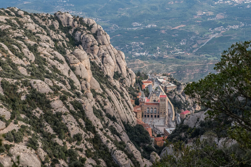 The view of the Montserrat monastery from the height