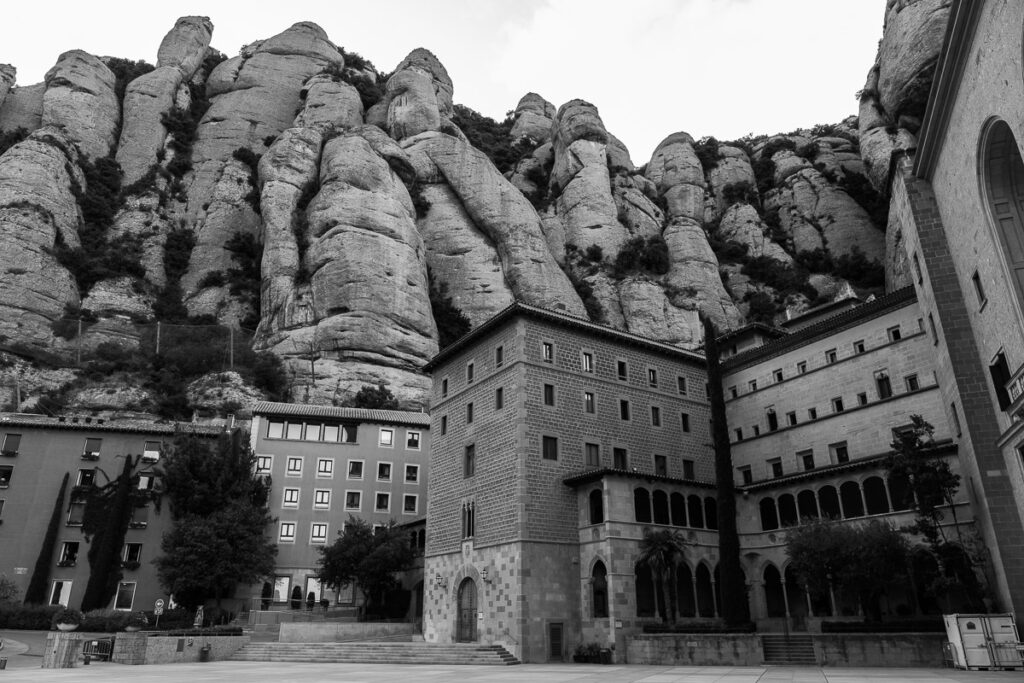 Black and white picture during visit Montserrat the well known monastery