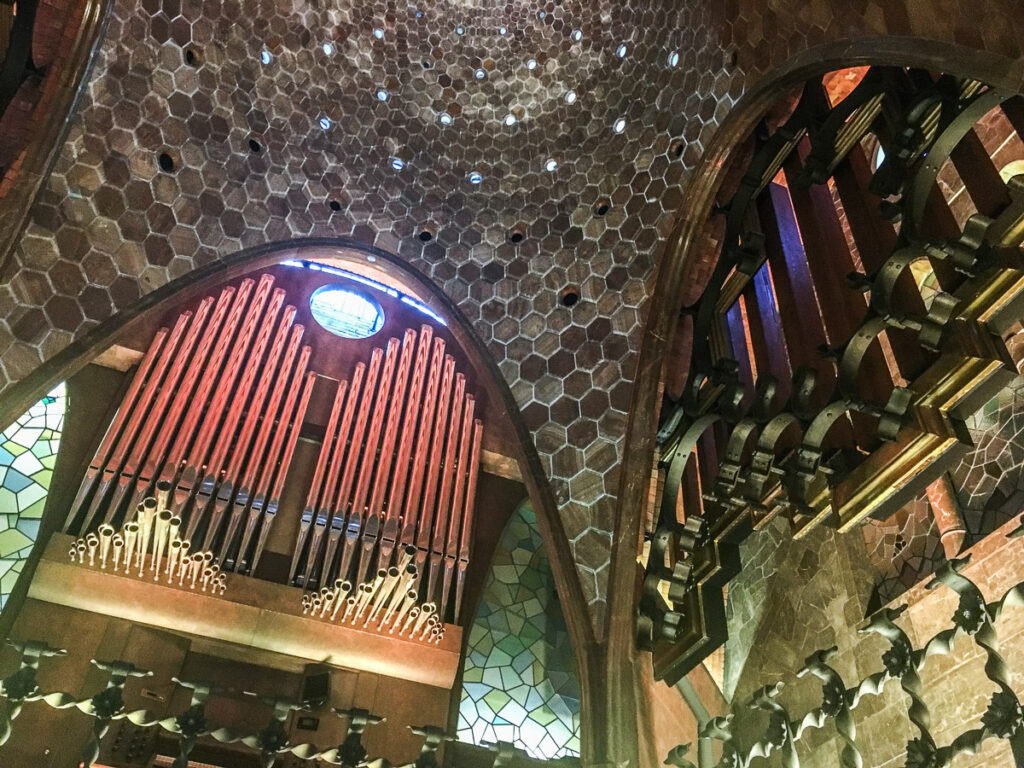 Cieling and organ in Palace guell one of the most visited Gaudi Buildings