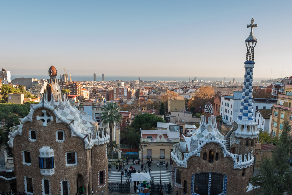 View over barcelona from Park Guell the most visited Gaudi buildings