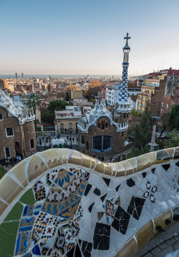 Colorfulhouses and the decorated barrier in Park Guell