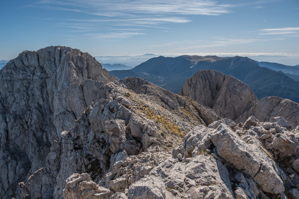 The summit after climbing Pedraforca. The main summit with vertical face