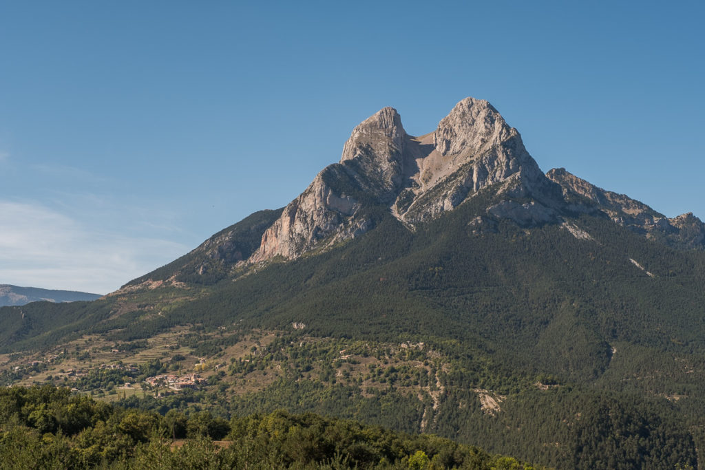 High Mountain with two summits and blue sky