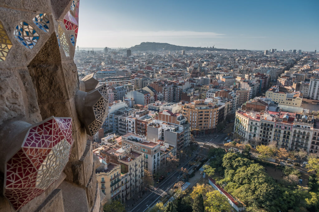 View over Barcelona from cathedral Sagrada Familia