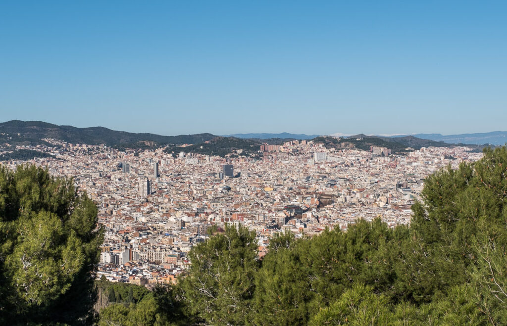 Scenic vievws of Barcelona from Montjuic Castle