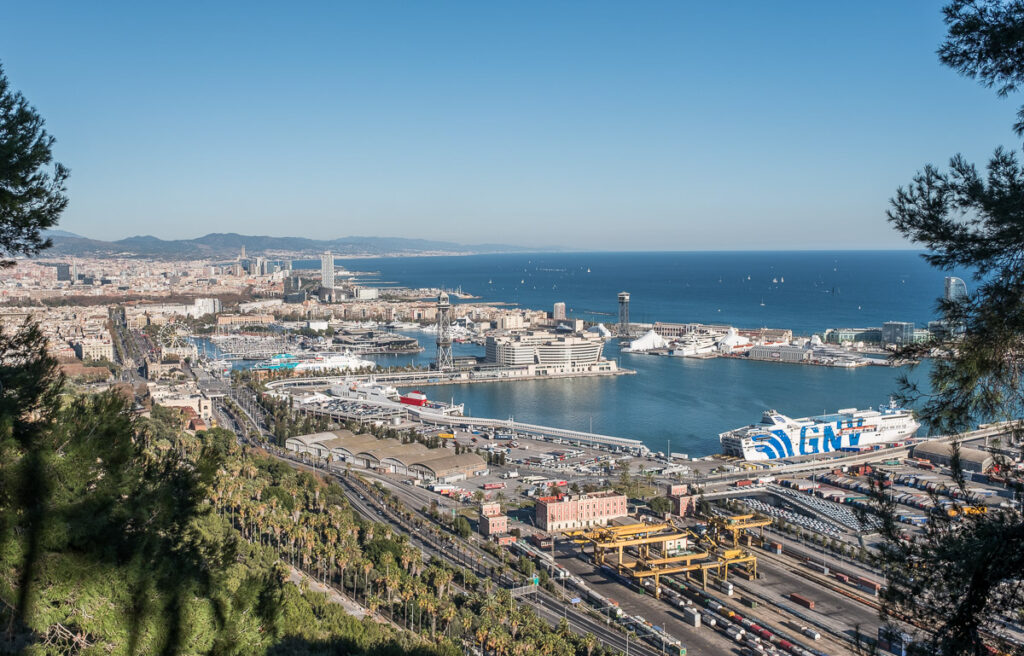 Port of Barcelona viewed from Montjuic Castle