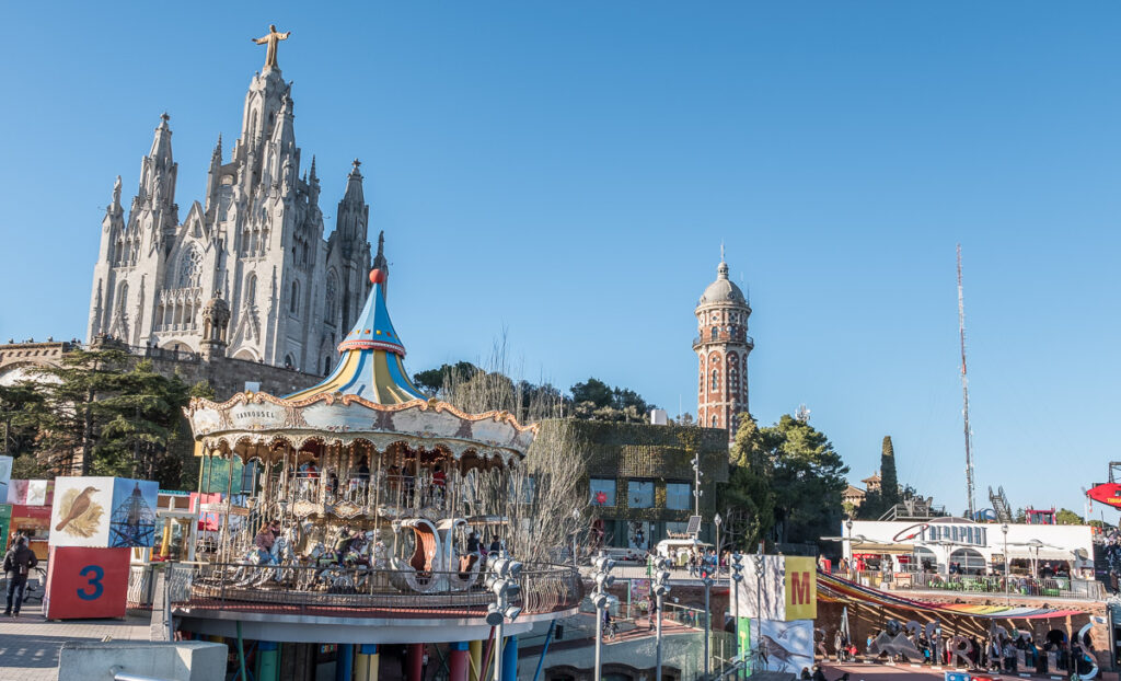 Amusement park in Tibidabo with cathegral and ferriswheel