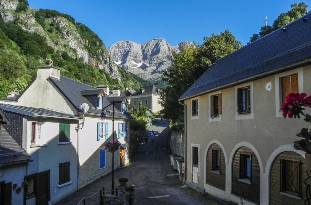 town Gavarnie with high peaks of Pyrenees in background