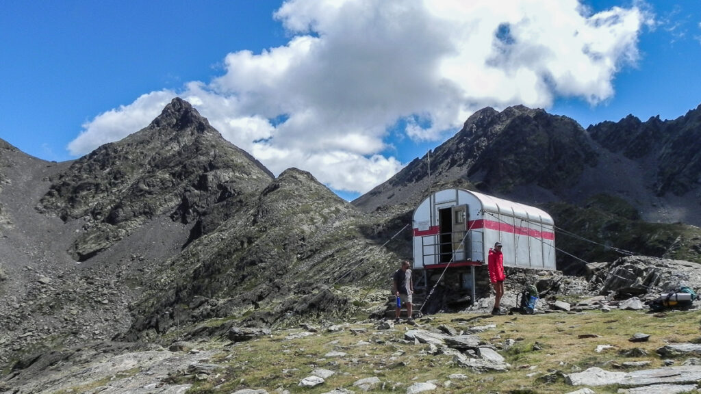 Small metal house in the mountain for overnight typical for Pyrenean Haute Route