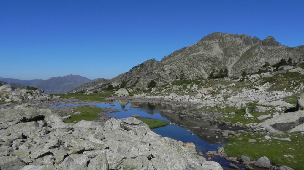 a nice small lake under the peak on Pyrenean Haute route