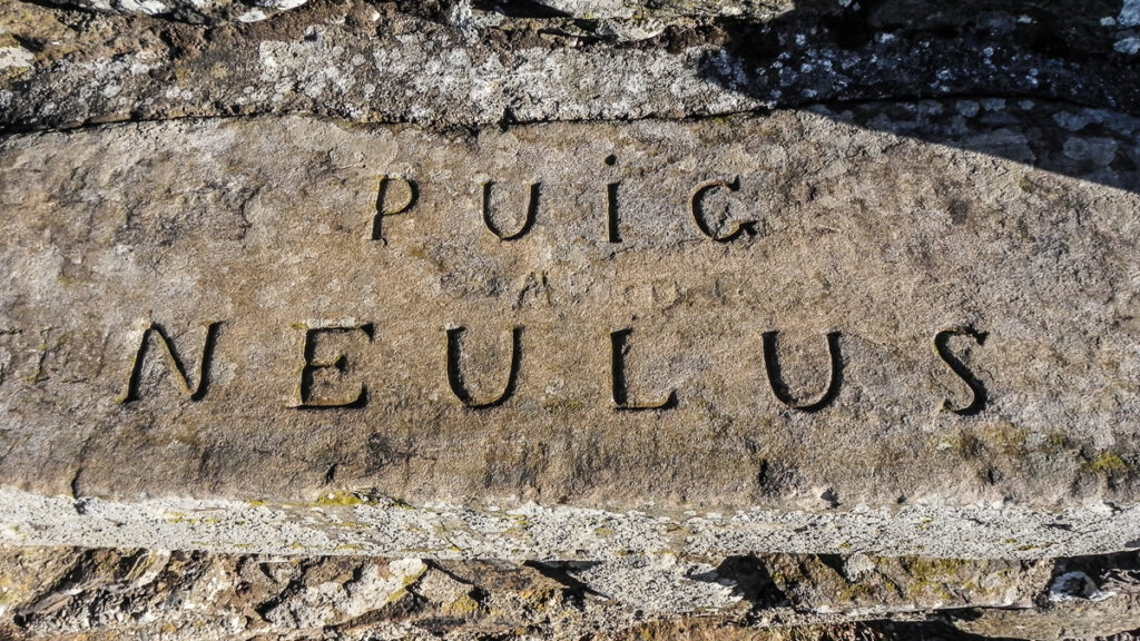 an inscription in a sandstone