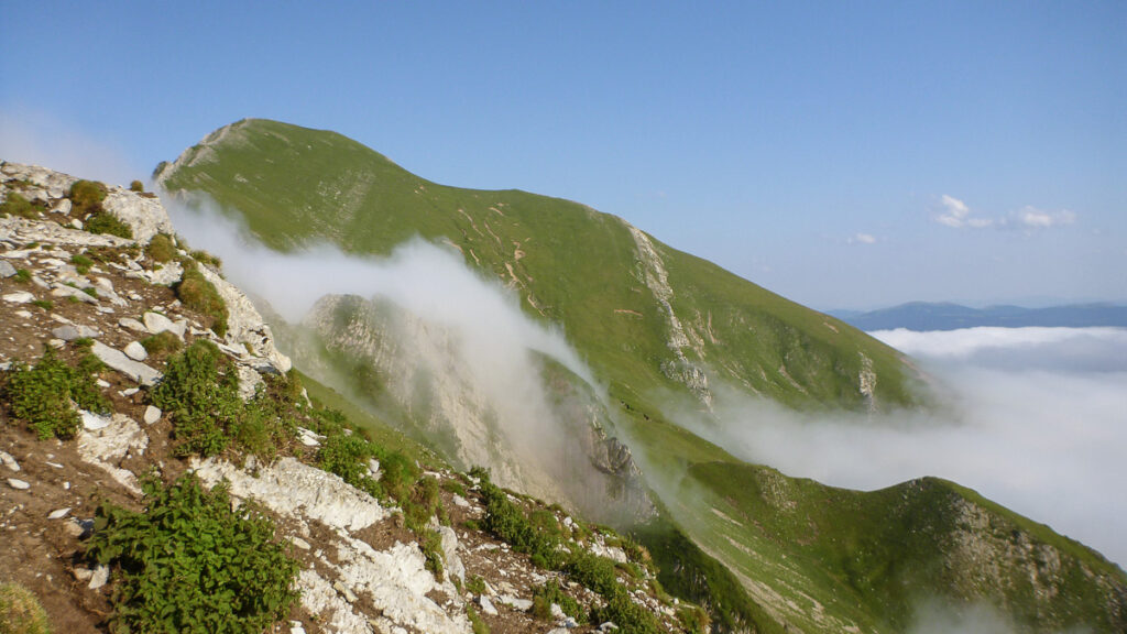 mist rising to the top of the hill