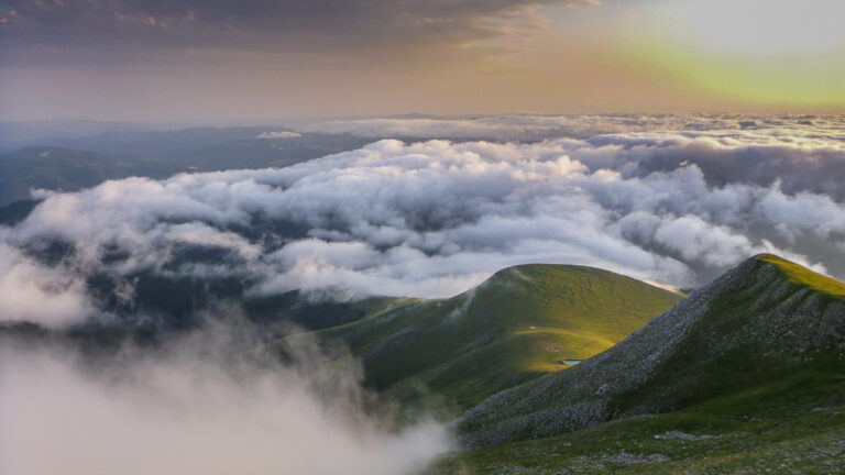 Sunset over the Pyrenean Haute route with inversion clouds near Pic d´Orhy