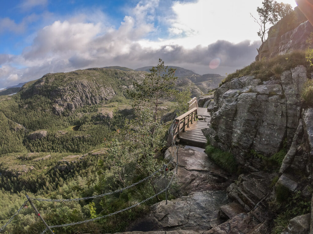Exposed path on the board walkd to the Pulpit rock in norway with amazing views to the nordic nature