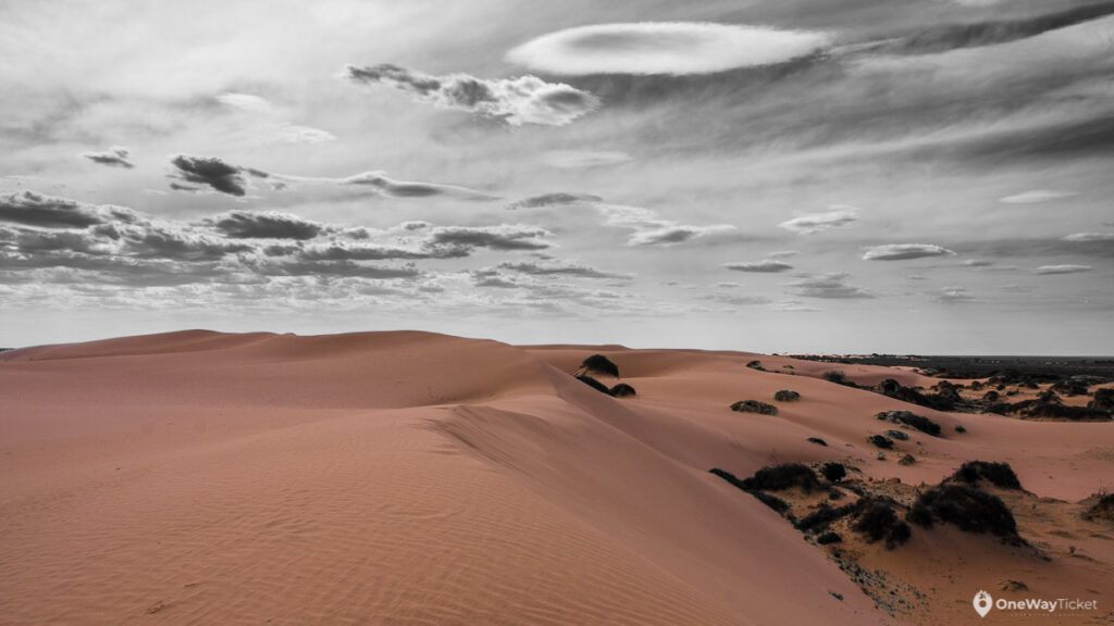 Sand dunes in Mungo national park during the sunset