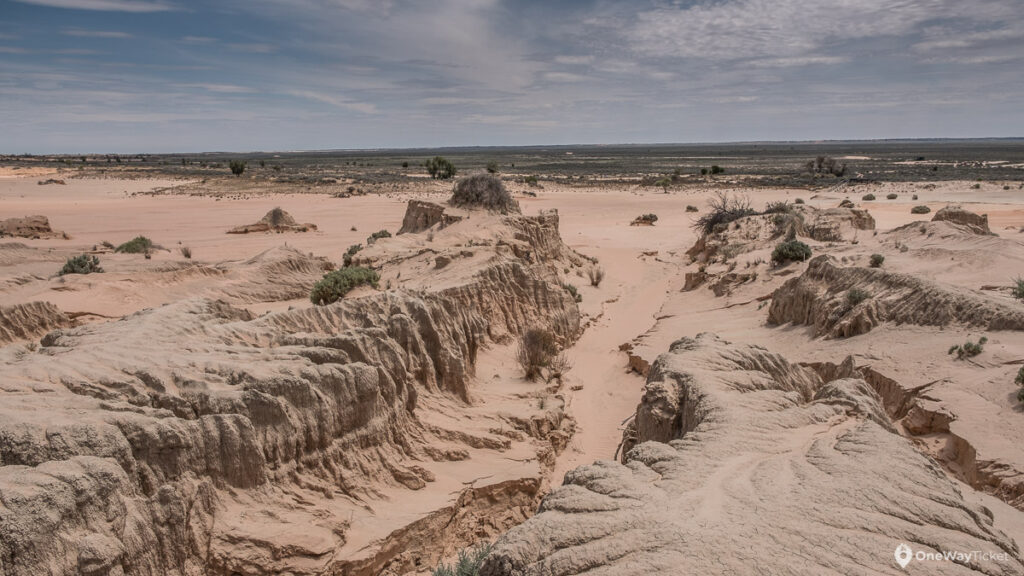 sand ravines in the bottom of the wilandra lakes in Australian Outback