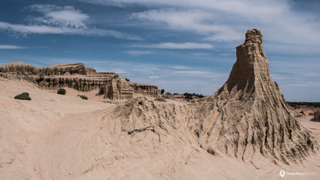 Sand formations in Mungo national park formed by errosion with blue sky in behind